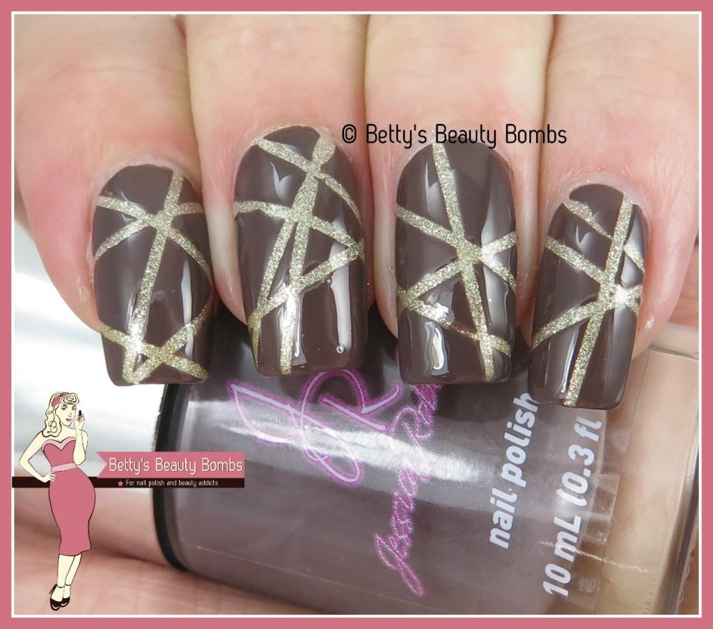 Nail Art Using Striping Tape: Brown And Gold Striping Tape Nail Art