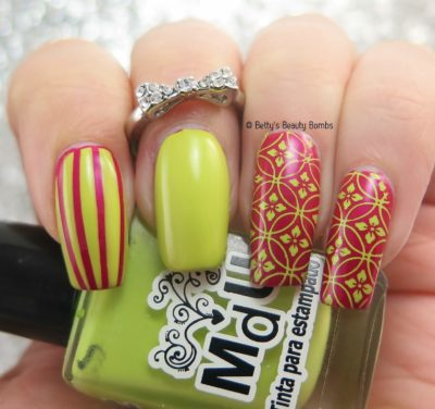 pink-and-lime-skittle-nail-art