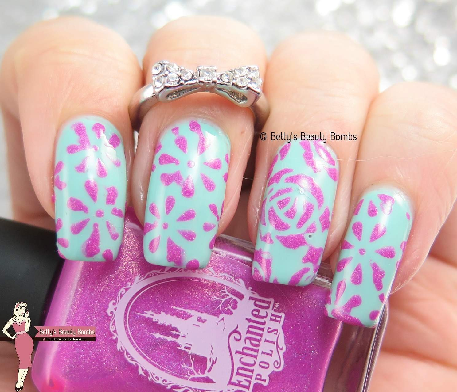 Mint And Pink Nail Art Flowers Lazy Betty